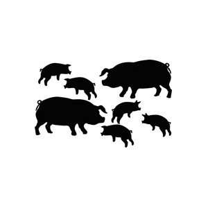 Pig Family   Animal Decal Vinyl Car Wall Laptop Cellphone