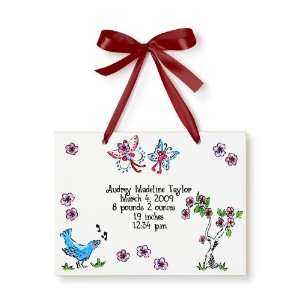 Birth Certificate Hand Painted Tile   Cherry Blossoms