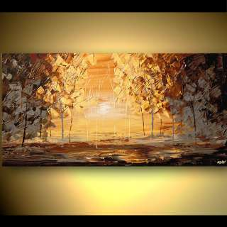 ORIGINAL Acrylic Painting Trees Palette Knife Impressionist on Canvas