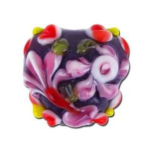 18mm Pink Flower Heart Shaped Lampwork Glass Beads Arts
