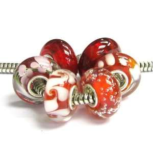 Love Red White Bundle Murano Glass Bead For Pandora Chamilia Troll