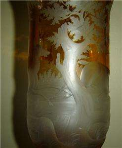 Intaglio Engraved Bohemian Cut Glass Vase Franz P. Zach