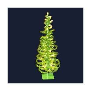 Apple Green Tinsel Tabletop Christmas Tree   Green Lights by Gordon