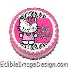 HOT PINK ZEBRA PRINT HELLO KITTY Edible Cake Image Topper Party