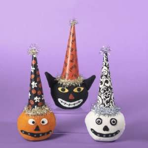 Ghost, Pumpkin and Black Cat Head with Party Hat Halloween Decorations