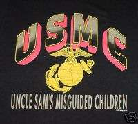New Black USMC Uncle Sams Marine Corps T Shirt, size 2X