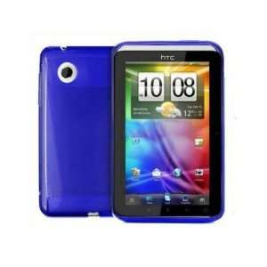 Blue silicone skin case cover with screen protector for Htc flyer