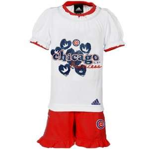 MLB adidas Chicago Cubs Toddler Girls White Red Princess T shirt