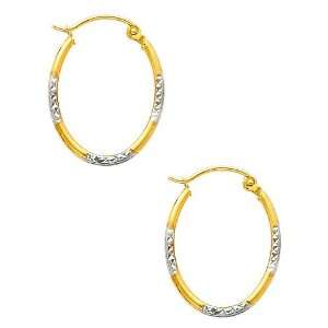 14K Yellow and White 2 Two Tone Gold Diamond Cut Tube Oval