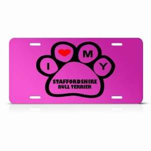 Staffordshire Bull Terrier Dog Dogs Pink Animal Metal License Plate