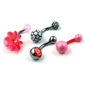 Set of 4 14g Surgical Steel & Acrylic Belly Button Rings Jewelry