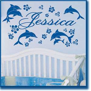 Name DOLPHINS Flower Vinyl Wall Decals Sticker Art #049