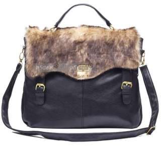 New Women Lady Fashion Faux Leather Handbag Hobo Fur Shoulder Bag
