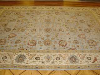 Light Blue & Ivory Plush Hand knotted Wool Persian Oriental Rug