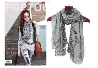 New Fashion Womens girls leopard chain print scarf wrap shawl FREE