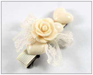 Heart Rose Flower Girls Child Baby Hair Bow Snap Clip