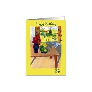 Still Life Roses Window View Happy Birthday 33rd Card Toys & Games