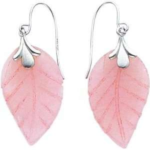 White gold Rose Quartz Leaf Wire Earrings New Jewelry