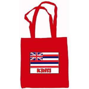 Kihei Hawaii Souvenir Canvas Tote Bag Red