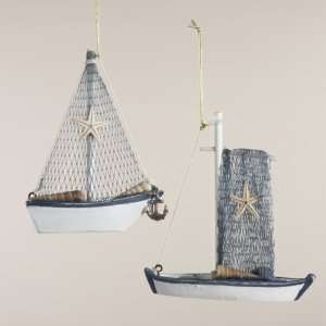 Club Pack of 12 Fishing Boat with Starfish and Sea Shells