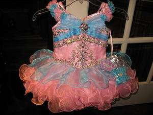 Ritzee Girls B211 Pink Blue Stunning Cupcake Pageant Dress 3