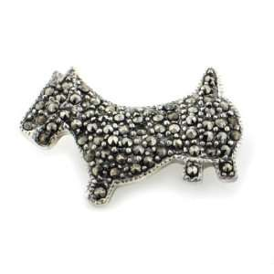 Sterling Silver Marcasite Scottish Terrier Dog Brooch Jewelry