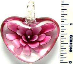 Murano Glass Pink Flower Heart Pendant