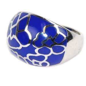 Enamel Blue and Silver Tone Ring Jewelry