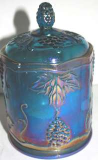 INDIANA BLUE CARNIVAL GLASS CANDY DISH/CANISTER W/LID