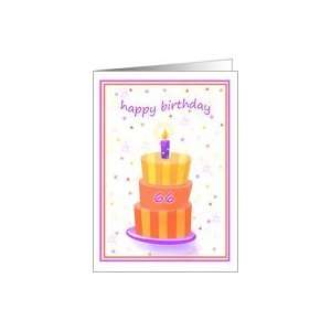 66 Years Old Happy Birthday Stacked Cake Lit Candle Card