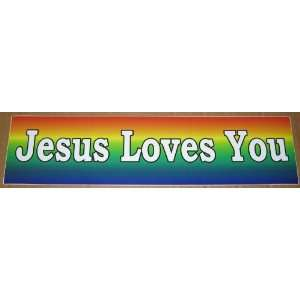 Jesus Loves You   Bumper Stickers   Rainbow   3 By 12