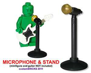 Microphone & Mic Stand GOLD * Lego Minifigure Accessory NEW