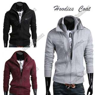 Stylish Mens Slim Fit Hoodies Coats Double Zip Cotton Jackets Tops