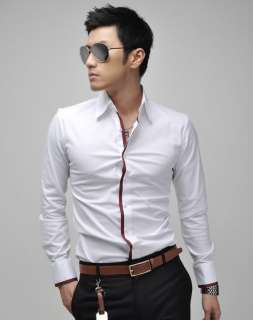 Mens Casual Slim Fit Stylish Dress Shirts 3Colours 4Size h307