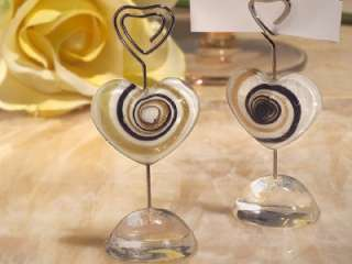 50 Murano Glass Gold Heart Wedding Placecard Holder