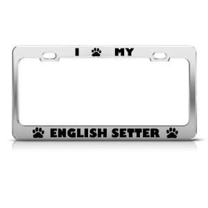 English Setter Dog Dogs Chrome license plate frame Stainless Metal Tag