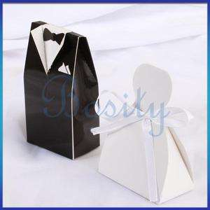 Tuxedo and Dress Wedding Favor Candy Gift Boxes Black and White