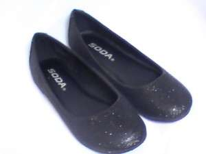 Girls Black Glitter Flats SD (SCOUT2) Girl Sz 13