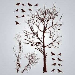 6ft Tree Brown & Green with Bird Wall Decal Deco Art