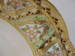 ANTIQUE NIPPON HAND PAINTED BOWL~GOLD ENCRUSTED DISH