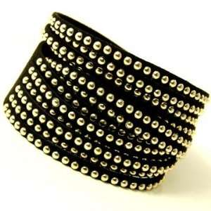 Wrap Bracelet with Gold Studs Adjustable Button Snap Closure Jewelry