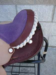 12 PURPLE Seat Leather Western Barrel Racer SHOW Saddle 5pc Tack