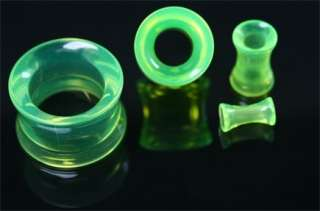 Green Double Flare Plugs Tube Ear Gauge Body Jewelry Tunnel Earlets