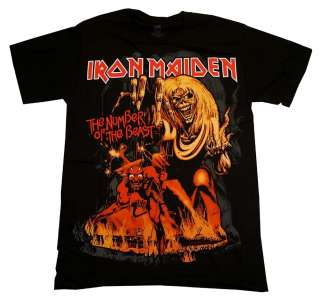 Iron Maiden Number Of The Beast Album Cover Rock Band T Shirt Tee