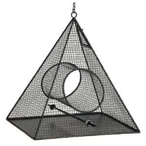 Bird Brain Geo Mesh Pyramid Bird Feeder, Black Patio