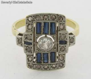 Antique Art Deco Diamonds Sapphires 18k Gold Platinum Ring