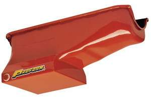 LOW PROFILE HI CAPACITY OIL PAN 7 QUART CHEVY S/B ORANGE PAINT