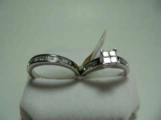 14k SOLID GOLD DIAMOND ENGAGEMENT RING WEDDING BAND SET