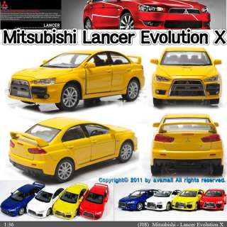 Mitsubishi Lancer Evolution X 136 Yellow Diecast Mini Car Toy