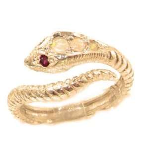 Fabulous Solid Rose Gold Natural Fiery Opal & Ruby Detailed Snake Ring